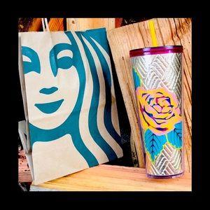 🌼 Starbucks Rose Quilted Gold Tumbler
